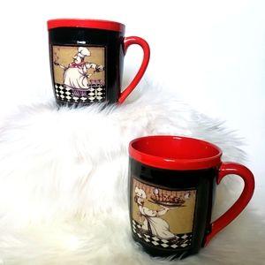Fat Chef Ceramic Mugs Red & Black French Decor
